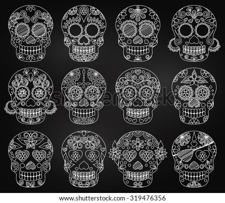 Vector Collection of Chalkboard Day of the Dead Skulls or Sugar Skulls - stock vector
