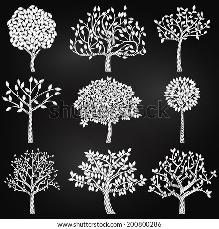 Vector Collection of Chalkboard Style Tree Silhouettes - stock vector