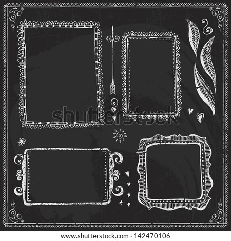 Vector Collection of Chalkboard Style Vintage Design Element - stock vector