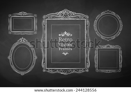 Vector collection of chalked vintage baroque frames. Isolated. - stock vector