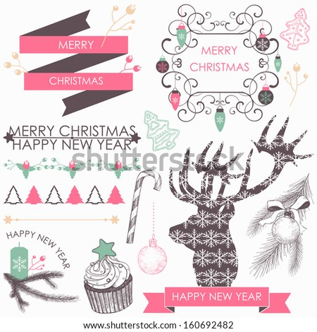 Vector collection of Christmas and New year's elements and hand drawn illustrations. Vector holiday elements. - stock vector