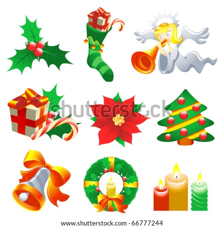 Vector collection of Christmas-related objects and symbols - stock vector