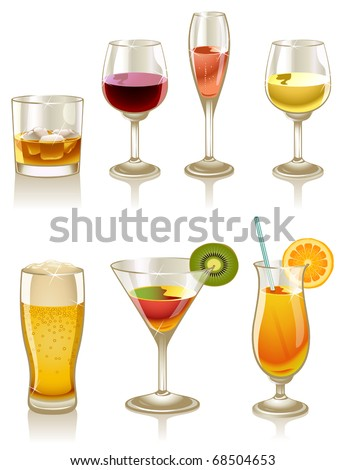 Vector collection of cocktails and drinks - stock vector