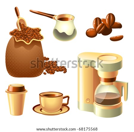 Vector collection of coffee-related objects - stock vector