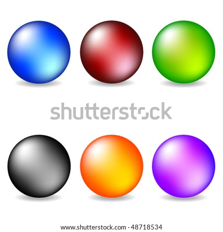 Vector collection of color pearls - stock vector