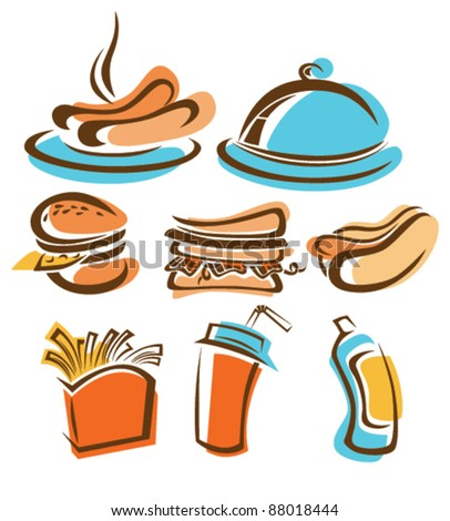 vector collection of colored fast food - stock vector