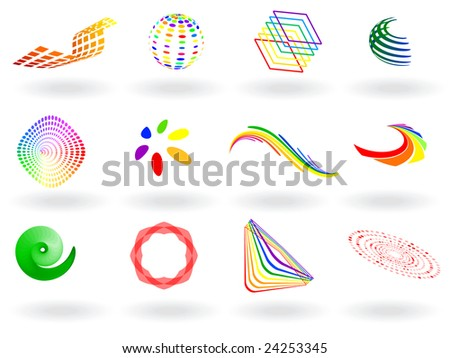 Vector - collection of colorful 3D vector icons - stock vector