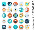 Vector collection of colorful flat business and finance icons. Design elements for mobile and web applications. - stock