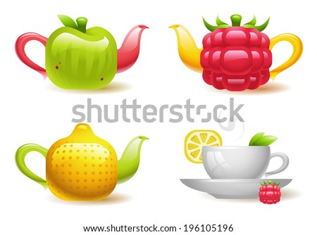Vector collection of colorful fruit-shaped teapots and a cup of fruit tea