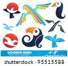 vector collection of colorful funny birds - stock vector