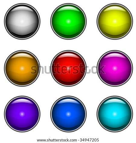 Vector collection of colorful glossy buttons for web design.