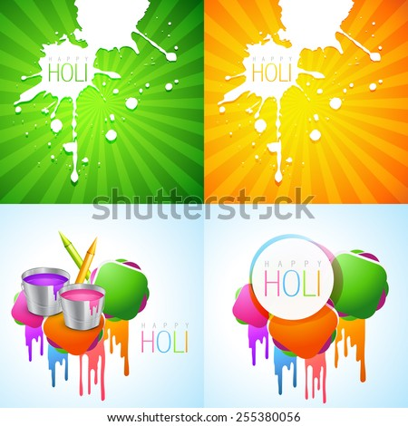 vector collection of colorful holi design with colorful holi splash and pichkari - stock vector