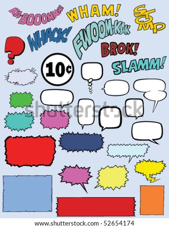 Vector collection of 30 comic book elements including speech bubbles, words, and text boxes. - stock vector
