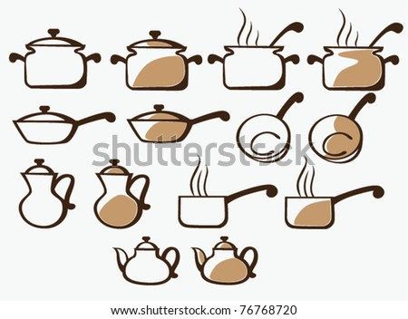 vector collection of cooking equipment - stock vector