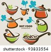 vector collection of cooking equipment and food symbols - stock vector