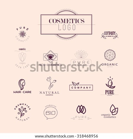 Vector collection of cosmetics logo identity templates. Health center logo. Fashion brand design. Natural and eco product label. Organic cosmetics and health care insignia. - stock vector