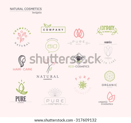 Vector collection of cosmetics logo identity templates. Natural and eco product label. Organic cosmetics and health care insignia. - stock vector