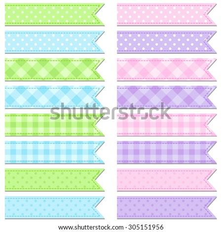 Vector collection of cute and bright tape stripes  - stock vector