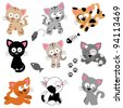 Vector Collection of Cute Cartoon Cats - stock photo