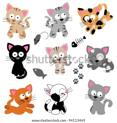 Vector Collection of Cute Cartoon Cats - stock vector