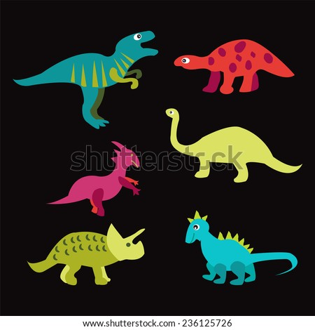 Vector Collection of Cute Cartoon Dinosaurs. All in separate group for easy editing  - stock vector