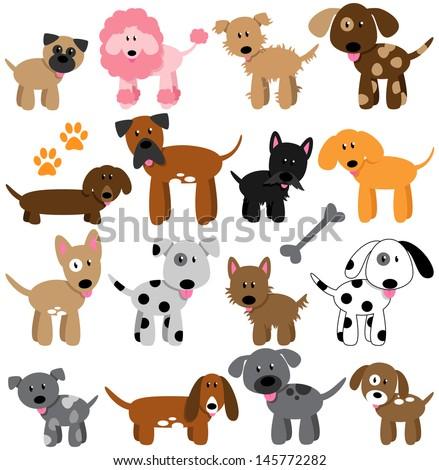 Vector Collection of Cute Cartoon Dogs - stock vector