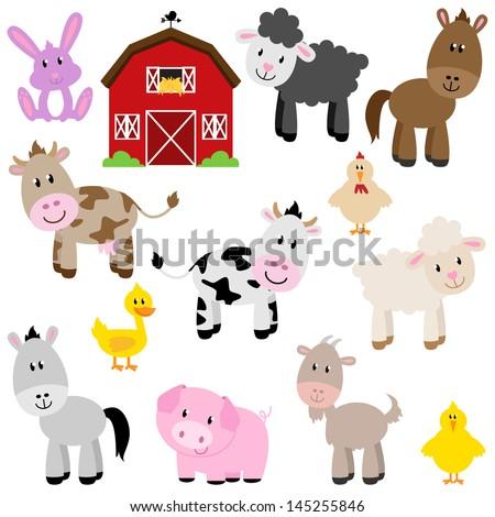 Vector Collection of Cute Cartoon Farm Animals and Barn - stock vector