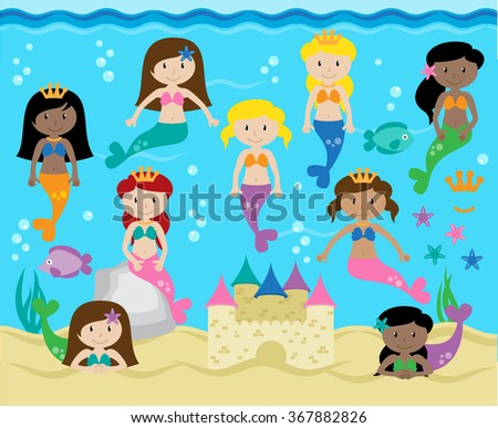 Vector Collection of Cute Mermaids with Background - stock vector