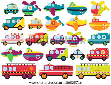 Vector Collection of Cute or Retro Style Emergency Rescue Vehicles - stock vector