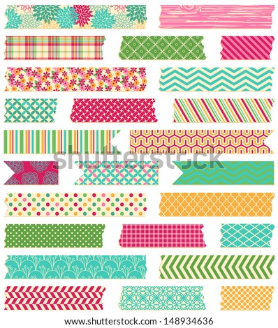 Vector Collection of Cute Patterned Washi Tape Strips - stock vector