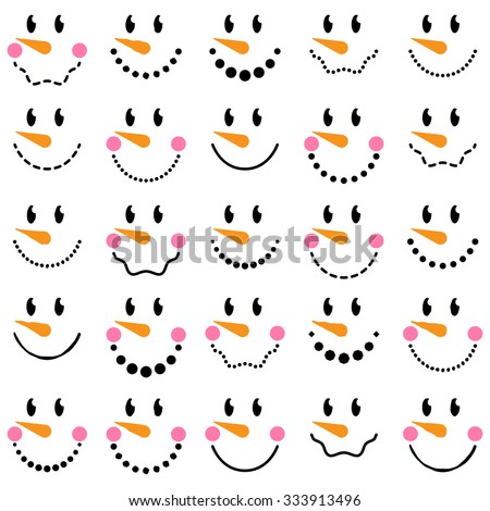 Vector Collection of Cute Snowman Faces - stock vector