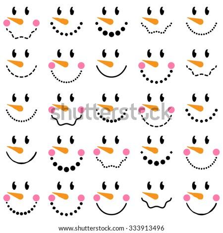 Vector Collection of Cute Snowman Faces - stock vector