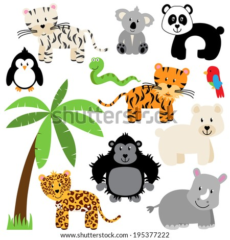 Vector Collection of Cute Zoo, Jungle or Wild Animals - stock vector