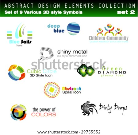 VECTOR Collection of 3D Design Elements Set 2 - Other set in my Portfolio - stock vector