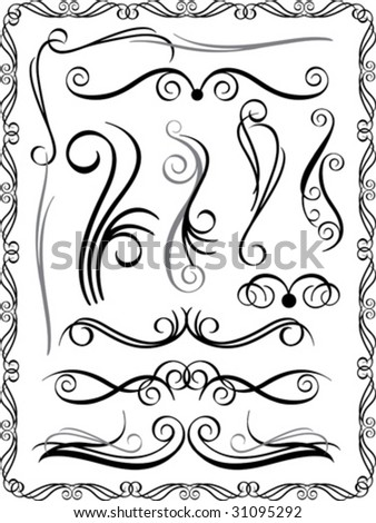 Vector collection #1 of decorative border elements. - stock vector