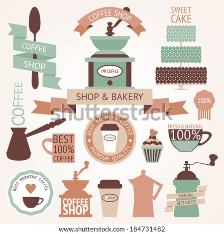 Vector collection of decorative coffee sticker and banner. Retro coffee silhouettes on aged background