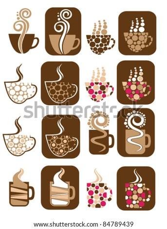 vector collection of decorative cup symbols - stock vector