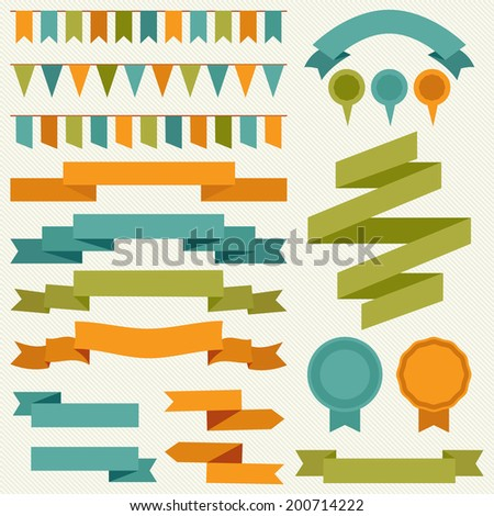 Vector collection of decorative design elements - ribbons, frames, borders, stickers, labels and flags - stock vector