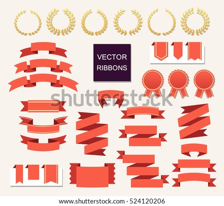 Vector collection of decorative design elements - ribbons, frames, stickers, labels. Illustrations of gift and accessory. Christmas sticker and decoration for. Label, badge and borders collection.