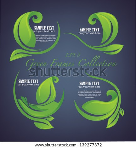 vector collection of decorative green leaves and frames - stock vector