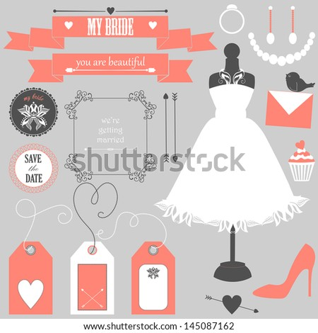 Vector collection of decorative wedding elements and signs for bride. Vector illustration - stock vector