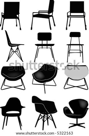 vector - collection of design chair - stock vector