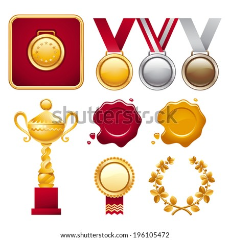 Vector collection of different award trophies including cup, medals and laurel wreath