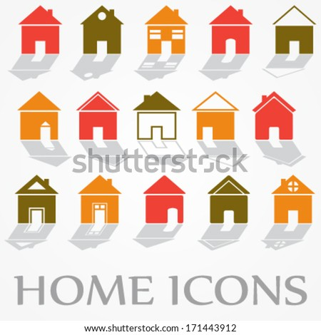 vector collection of different colorful house, home icons (silhouettes) with shadow