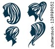 vector collection of different woman hairstyle - stock
