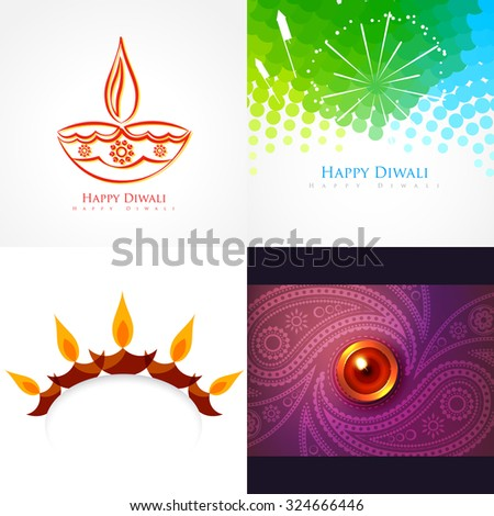 vector collection of diwali background illustration with creative design - stock vector