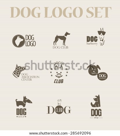 Vector collection of dog logo. Logo for pet club or shop, doggy center or barberry, sport dog club, veterinary clinic. Cute dog icons set. Flat logo design. Also may be used for hunting club emblem. - stock vector