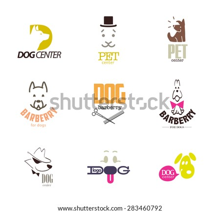 Vector collection of dog logo. Logo for pet club, shop, store, doggy center or barberry, sport dog, cat club, veterinary clinic. Cute dog icons set. Flat animal logo design. Hunting club emblem. - stock vector