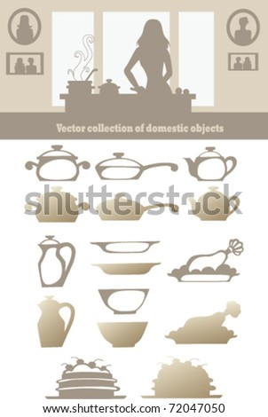 vector collection of domestic objects - stock vector