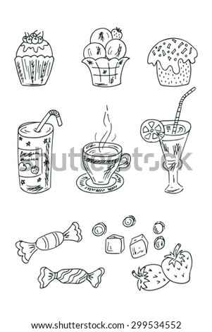 Vector collection of Doodles Desserts: Cakes, beverages and candy